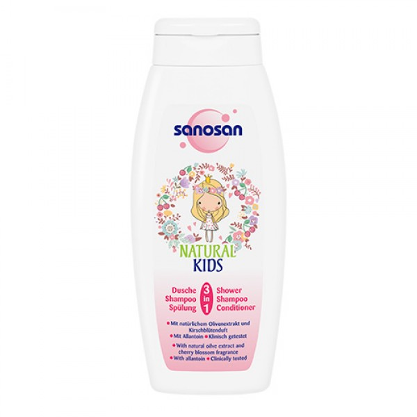 Sanosan Natural Kids 3-in-1 Shower, Shampoo, and Conditioner for Girls