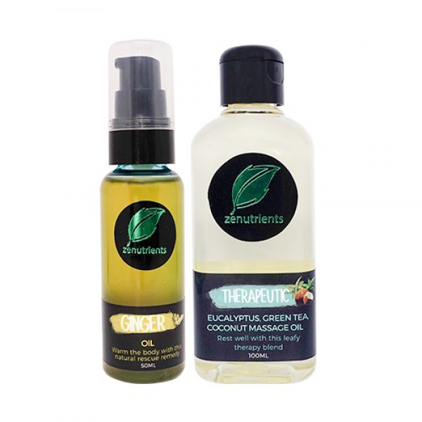 Zenutrients Ginger Pump Oil and Therapeutic Massage Oil