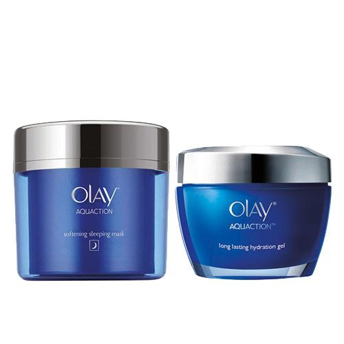 Olay Aquaction Softening Sleeping Mask & Long Lasting Hydration Gel